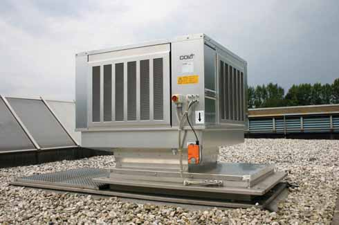 An installed Coolstream evaporative cooling unit by Colt, UK