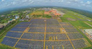 The plant consists of 46,150 solar panels laid across 45 acres near the airport's cargo complex