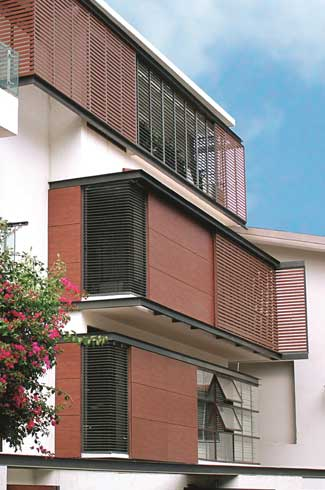 Louvers/Sun Blinds Façade Systems reduce air conditioning loads, while offering distinctivearchitectural impact
