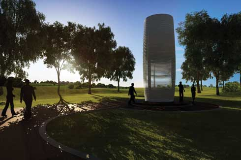 The tower is touted to travel the world over soon, coming to polluted cities such as Mumbai and Beijing