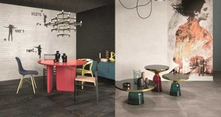 ABK's Do Up Collection: The aged urban/industrial trend features cements and woods with special graphic effects