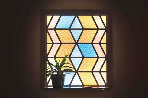 The Current Window is made from dye-sensitised solar cells arranged in a zigzag pattern that covert sunlight into electrical energy