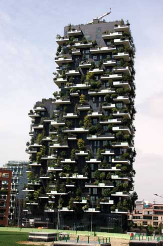 The vertical forests will protect the living space from acoustic pollution, harsh sunlight, maintain a microclimate and absorb carbon and dust particles
