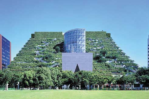 The ACROS Fukuoka Foundation Building in Japan contains garden terraces that host about 35,000 plants representing 76 species