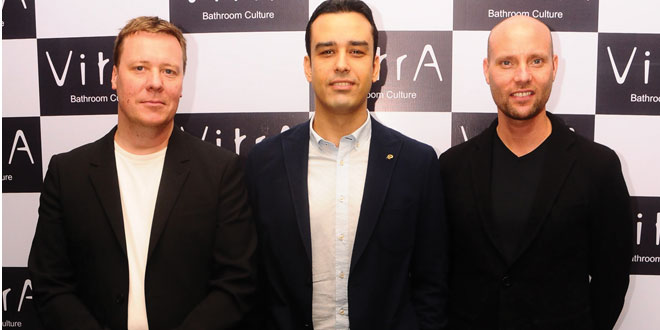(L-R) Mr. Sauli Sumela, Designer Director, Partner, MA - Pentagon Design,  Mr. Serhan Ates Yagiz , India Country Manager, VitrA , Mr. Arni Aromaa, Creative Director, CEO, Partner, IMBM , Pentagon Design