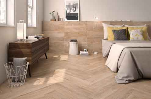 Flamant range inspired by wood, with an organic  touch stood out among the various products of Roca Tiles
