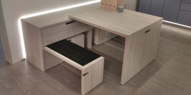 Hafele, Extendable Tables, pull-out tabletop, space-efficient.